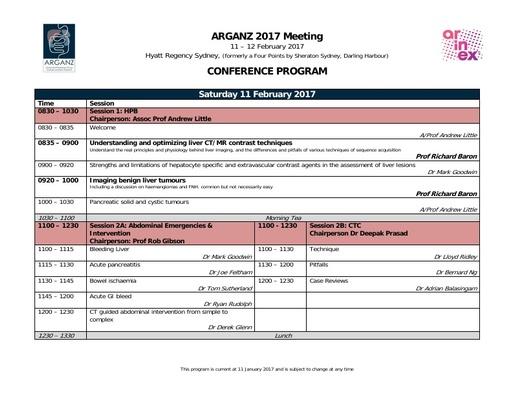 ARGANZ 2017 Program