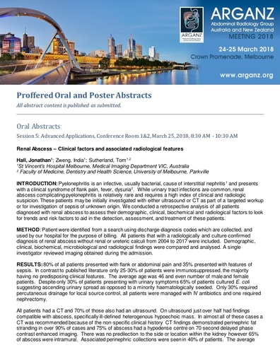 ARGANZ 2018 Accepted Abstracts Oral and Poster
